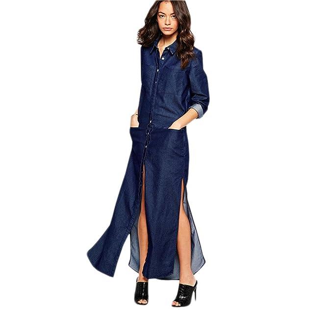 Jothin Damen Langarm Jeans Kleid Einfarbige Casual Maxi Kleider