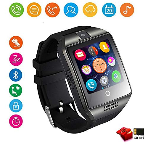 Smartwatch, Bluetooth Smart Watch Touch Screen Unlocked Cell Phone with SIM & SD Card Sleep Monitor Band with Pedometer Compatible with Android/iOS/Samsung/Huawei/HTC/Sony/Nexus Men Women(Black)