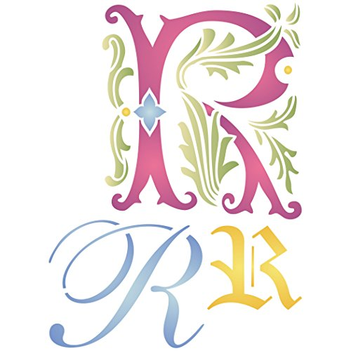"""Initial R Stencil (size 6.5""""w x 8.8""""h) Reusable Stencils for Painting - Best Quality Letter Wall Art Décor Ideas - Use on Walls, Floors, Fabrics, Glass, Wood, Cards, and More..."""