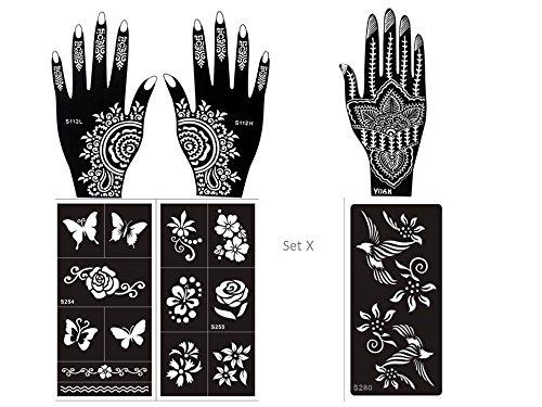 6 fogli Mehndi Tattoo Stencil mano Mehndi Tatuaggi all'hennè Set X- Usa e getta - Per Tatuaggio all'henné, scintillio tatuaggio e airbrush tatuaggio Tie