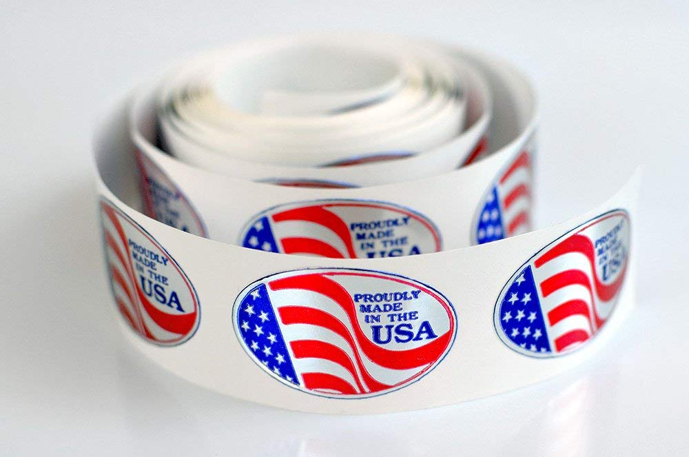 Proudly Made in The USA Oval Adhesive Labels, Embossed Foil Seals, USA Stickers - 1,000pcs by USA-RWB
