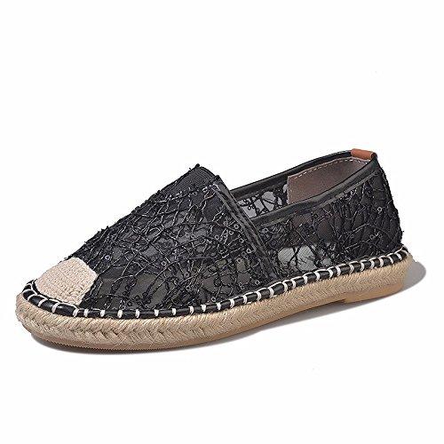 plano transpirable encaje redonda de XIAOGEGE Negro plana sandalias mujer Cabeza calzado zapatos xSXwYOq