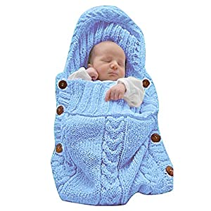 XMWEALTHY Newborn Baby Wrap Swaddle Blanket Knit Sleeping Bag Receiving Blankets Stroller Wrap for Baby(Light Blue) (0-6…