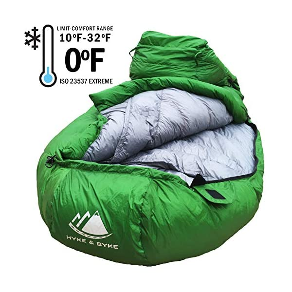 0 Degree Backpacking Sleeping Bag - Zero F Ultralight Mummy Bag for Cold Weather, Lightweight Synthetic Goose Down Like 625 Fill Power Bag For Men's and Women's Winter Camping (Forest Green, Regular) 5