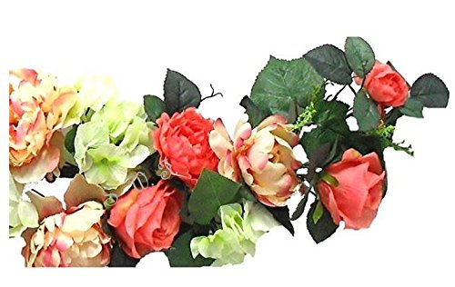 Wedding Flowers 35'' Peony Rose Hydrangea Swag Silk Arch Home Pary Decoration (Coral) by Wedding Flowers