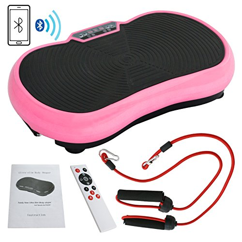 SUPER DEAL Crazy Work Out Fit Full Body Vibration Platform Massage Machine Fitness W/Bluetooth, Pink by SUPER DEAL (Image #9)