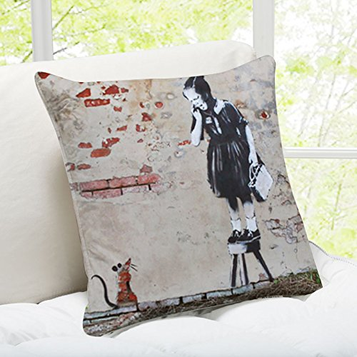 iLeesh Banky Art Throw Pillow Girl and Mouse New Orleans