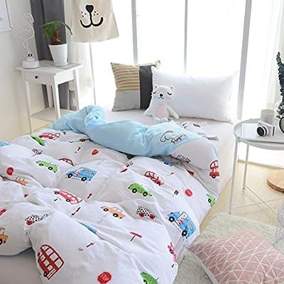J-pinno Boys Girls Cartoon Muslin Duvet Covers, 100% Cotton, Invisible Zipper, for Kids Crib/Twin Bedding Decoration Gift