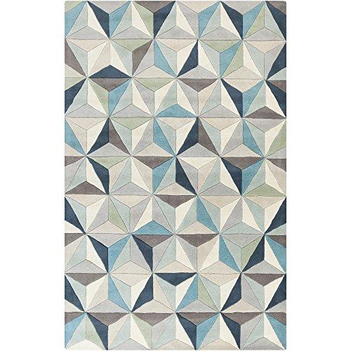 (Surya OAS1097-58 Hand Tufted Geometric Area Rug, 5 by 8-Feet, Gray/Light Gray/Aqua/Charcoal/Beige/Moss/Taupe)