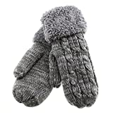 Warmest Gloves Of Double Structure covering 5 Finger Women's Winter Knitted Mittens Gloves Inner Boa Thick Knit Grain Pattern Japan Import by GlovesDEPO