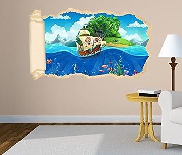 3D Wandtattoo Pirat Schiff Schatzkarte Meer Tapete Wand Aufkleber  Wanddurchbruch Deko Wandbild Wandsticker 11N1216, Wandbild
