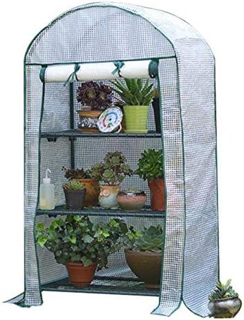 fengicon 小型 温室 ハウス、簡易温室、フレーム付き、フラワースタンド 屋内用および屋外用69x49x125CM