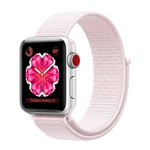 Woven Pearl - penen Apple Watch Band 38mm 42mm Soft Nylon Watch Sport Loop Band Adjustable Closure Wrist Strap Breathable Woven Nylon Replacement Strap Apple Watch Series 3,2,1 (Pearl Pink, 38 mm)