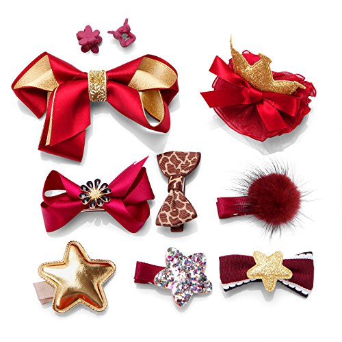 Price comparison product image 10pcs Toddler Girl Hair Clips Barrette Hairpins Baby Kids Cute Bowknot Crown Star Hair Claws Headdress Bows Accessories for Photography Pops Costume Party Birthday Gift (Red)