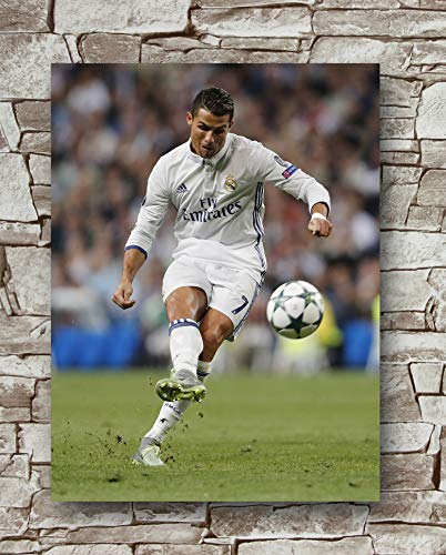 Cristiano Ronaldo Poster - Huawuque Real Madrid Ronaldo 2017/2018 Season Poster Standard Size   18-Inches by 24-Inches   Real Madrid Ronaldo Posters Wall Poster Print