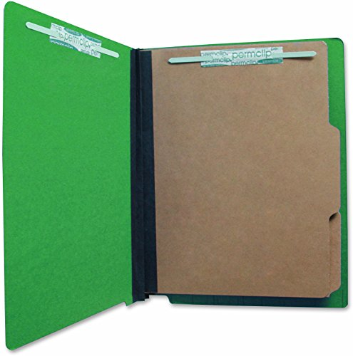 AMZfiling Pressboard End Tab Classification Folder with 6 Permclip Fasteners and 2 Natural Kraft Dividers- Emerald Green, Letter Size (15/Box)