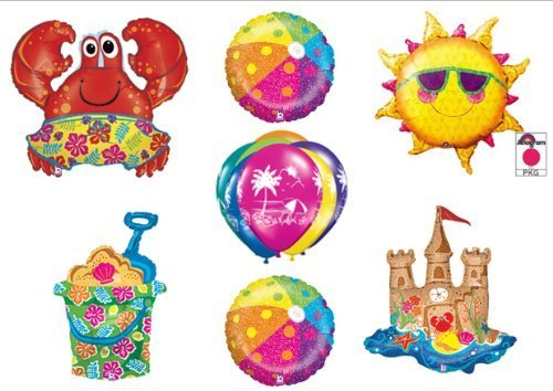 Beach Luau Crab Hawaiian Tropical Birthday Party Balloons Decorations Supplies