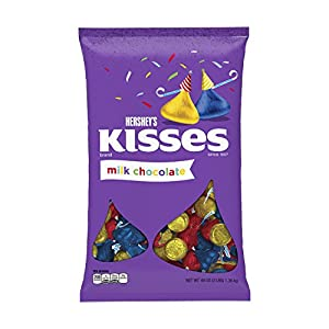 HERSHEY'S KISSES Chocolates, Gluten-Free Solid Milk Chocolate Candy Wrapped in Red, Blue, and Yellow Foil with Birthday Message Plumes, 48 Ounce Bulk Bag
