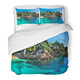 SanChic Duvet Cover Set Island Scenery Seascape Majorca Spain Beautiful Panorama Mediterranean Sea Coastline in Cala Ratjada Decorative Bedding Set 2 Pillow Shams King Size