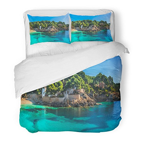 SanChic Duvet Cover Set Island Scenery Seascape Majorca Spain Beautiful Panorama Mediterranean Sea Coastline in Cala Ratjada Decorative Bedding Set 2 Pillow Shams King Size by SanChic