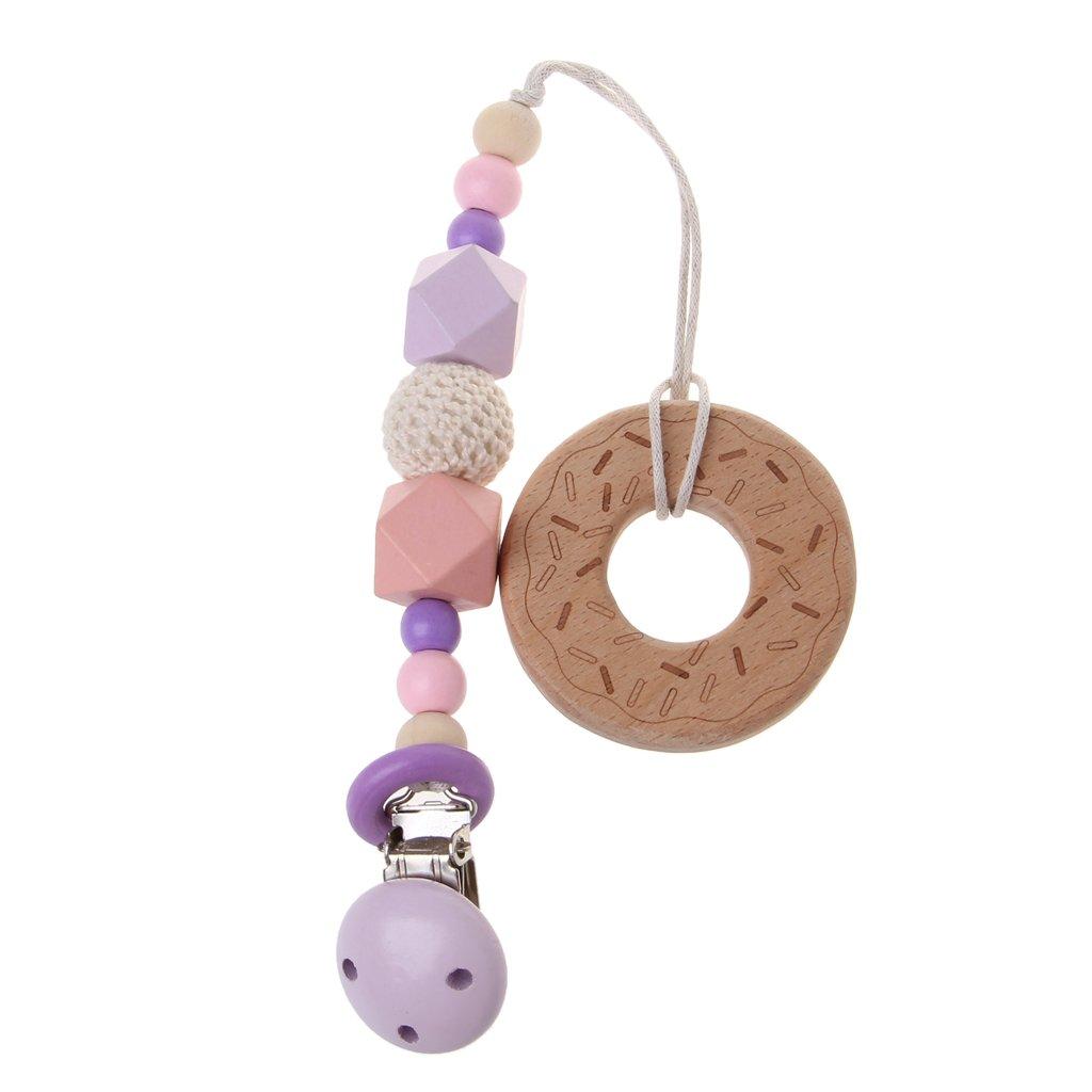 Dabixx Baby ciuccio clip in legno di faggio con massaggiagengive Kids catenella per dentizione Chew giocattolo farfalla, Legno, Butterfly, Length: 34cm/13.39in