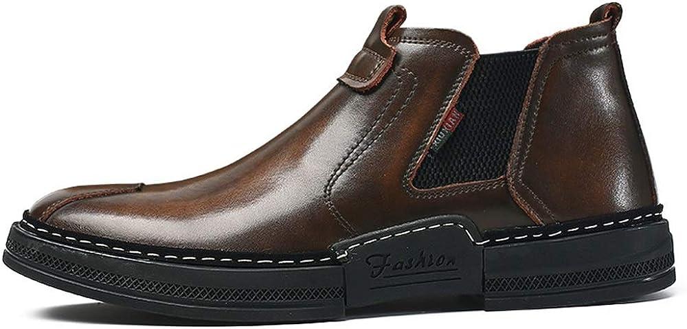 SJXIN-Mens Bottes Hiver Bottes en Cuir for Hommes, PU Talon Chaussures Plates en Cuir encaqués Pied Grenadine Loisirs for Les Jeunes Brown