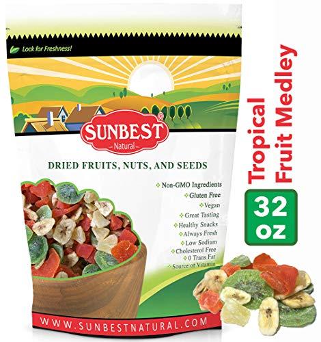 Sunbest Tropical Dried Fruit Mix , Fruit Medleys ( Mango, Papaya, Pineapple, Banana Chips, Kiwi ) in Resealable Bag, Vegan &Kosher- (2Lb) ()