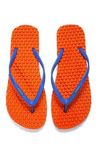 for Orange Flops Young and Bumpers Comfort Eco amp; Slipping Massage Blue Fit flat Anti Friendly Flip Slim Women Sandals qEOrqtznac
