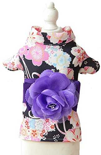 MaruPet Brocade Japanese Kimono for Girl Floral Pet Halloween Costume Bowknot Dog Dress for Small, Extra Small Dog Wiener Dog Teddy, Pug, Chihuahua, Shih Tzu, Yorkshire Terriers, Papillon Black XL