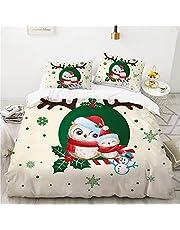 KOOYR Kerst dekbedovertrek, Santa Claus Moose Polyester Fiber Comfortabel zacht gemakkelijk te onderhouden dekbedovertrek, geschikt voor alle seizoenen van de kinderkamer dekbedovertrek