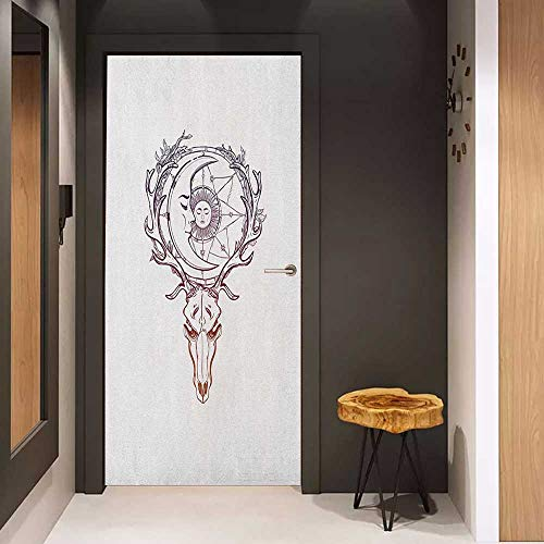 Onefzc Pantry Sticker for Door Sun Tattoo Style Animal Skull with Celestial Star Shape Antlers Doodle Sticker Removable Door Decal W38.5 x H79 Dark Purple Cinnamon White ()
