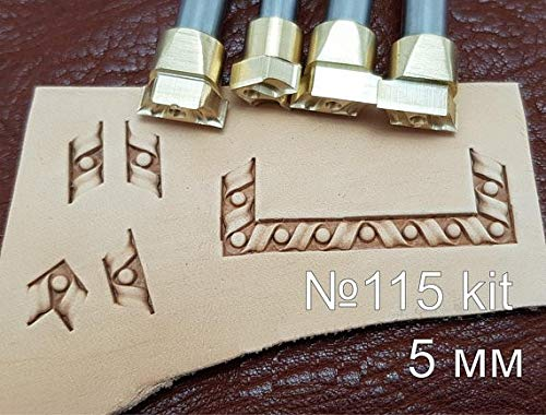 Leather Working Tools Carving Punches Stamp Craft Saddle Brass #115Set by DandS ltd (Image #1)
