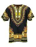 KlubKool Dashiki Shirt Tribal African Caftan Boho Unisex Top Shirt (Black/Yellow,XX-Large)