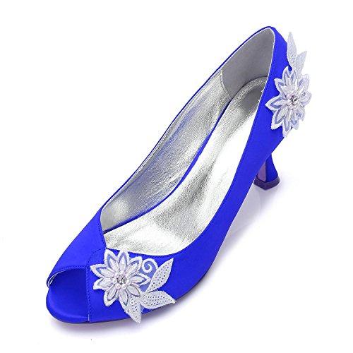 Perlas Flor high de Alto Mujer La de Boda Tamaño Blue Nupcial Señoras Zapatos de Flores para Elegant de shoes Plataforma Tacón Noche Prom 76qdCWO