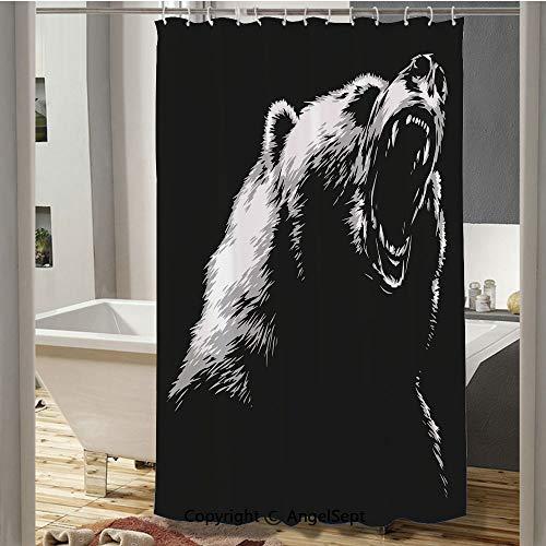 Homenon Sketch Line Art Style Roaring Carnivore Fur and Fangs Aggressive Predator Fauna Decorative Custom Shower Curtain(72