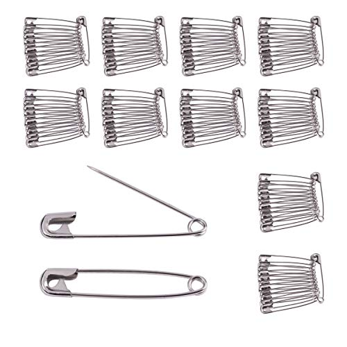 (BEADNOVA Safety Pins Nickel Finish Clothing Pins for Garment Art Craft (120pcs, 1.8 Inch,)