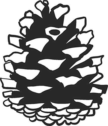 Decorative Pinecone - hBARSCI Pinecone Vinyl Decal - 5 Inches - for Cars, Trucks, Windows, Laptops, Tablets, Outdoor-Grade 2.5mil Thick Vinyl - Matte Black