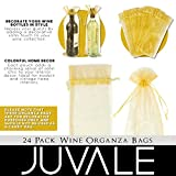 Wine Organza Bags - 24-Pack Drawstring Wine Bottle Organza Bags -Wine Wrapping Bags for Decoration, Storefront Display, Gift Bags, Party Favors - Gold, 14.5 x 5.5 inches