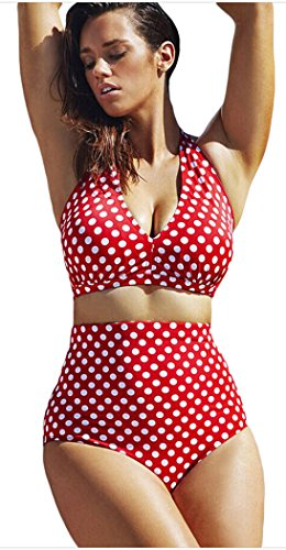 Elady Plus Size Bikini Sexy Dots Beachwear Top Bottom Sets Swimsuit For Women (XXL)