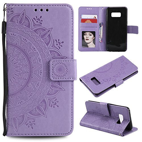 Galaxy S8 Plus (S8 +) Floral Wallet Case,Galaxy S8 Plus (S8 +) Strap Flip Case,Leecase Embossed Totem Flower Design Pu Leather Bookstyle Stand Flip Case for Samsung Galaxy S8 Plus (S8 +)-Purple by Leecase
