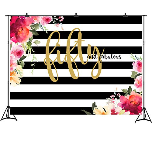 Fifty and Fabulous Decorations for Women Birthday Party 7x5ft Vinyl Stripes Floral Photography Backdrop 50th Birthday Banner Cake Table Decor ()