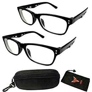 (#5123 Blk) 2 Pairs Nearsighted Myopia Lens Plastic Frame Optical Eyeglass Glasses For Men & Women (Strength: -100)