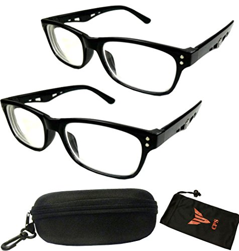 (#5123 Blk) 2 Pairs Nearsighted Myopia Lens Plastic Frame Optical Eyeglass Glasses For Men & Women (Strength: -100)