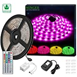 MINGER RGB LED Light Strip 5M (16.4 Ft) Waterproof 150 LEDs SMD 5050 Flexible Rope Lighting Kit with 44 IR Controller and Power Adapter