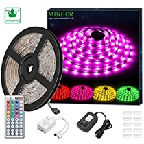 Minger LED Light Strip 5M (16.4 Ft) Waterproof 150 LEDs SMD 5050 Flexible Rope Lighting Kit