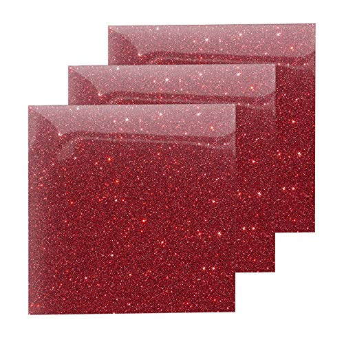 Glitter Heat Transfer Vinyl Red Sheets, HTV Vinyl Bundle Iron on for T Shirts, Fabric, Clothing - 10