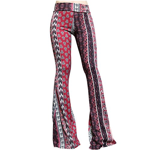 SMT Women's High Waist Wide Leg Long Bell Bottom Yoga Pants Small Wine Tribe