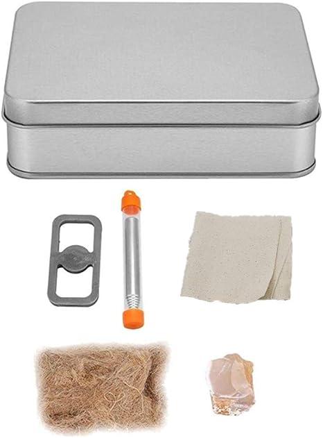 Broco Kit Fuego, Inglés pedernal y del Acero Fuego Start Kit de Herramientas con Camping con bisagras Caja de la Lata de Fuego al Aire Libre Delantero