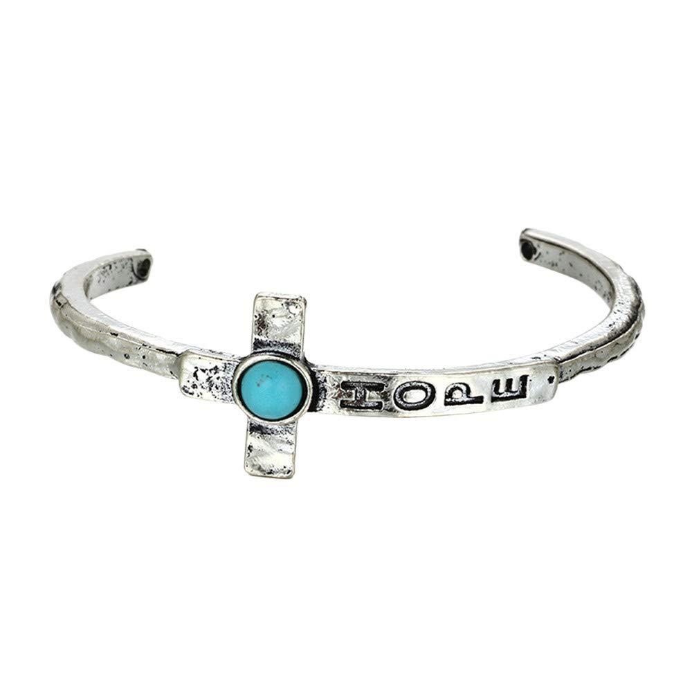 Women Europe and America Retro Folk-Custom Cross Feather Charm Bangle Bracelets Gift for Girls Mens Teens Student Best Friend Forever(E)