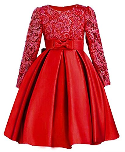 ZaH Big Little Girl Party Dress Flower Girl Christmas Gowns(Red,4-5Y)